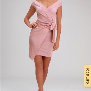 Lulus pink wrap dress